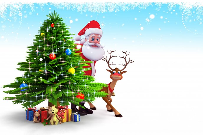 santa claus and deer rudolf near christmas tree
