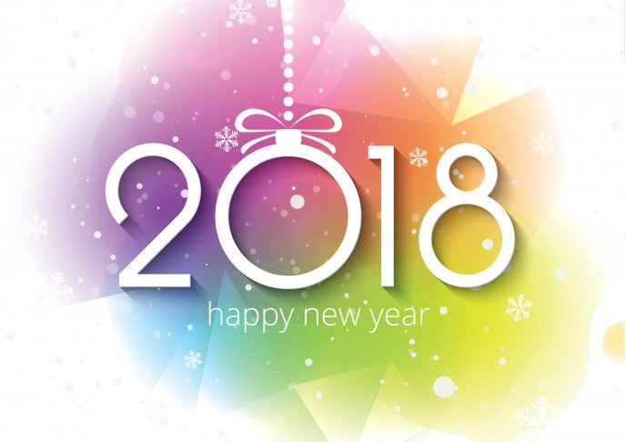 digital art colorful background happy new year 2018