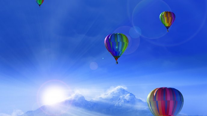 Colorful Hot Air Balloons On The Blue Sky Cold Winter Day