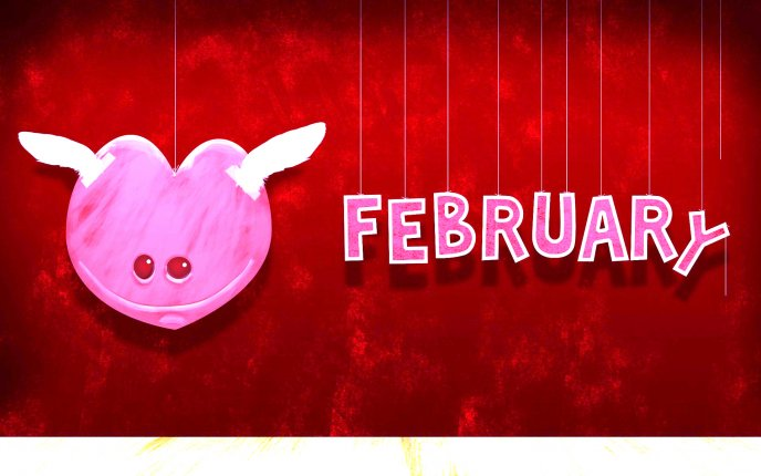 Little pink monster of love - February month Valentines Day