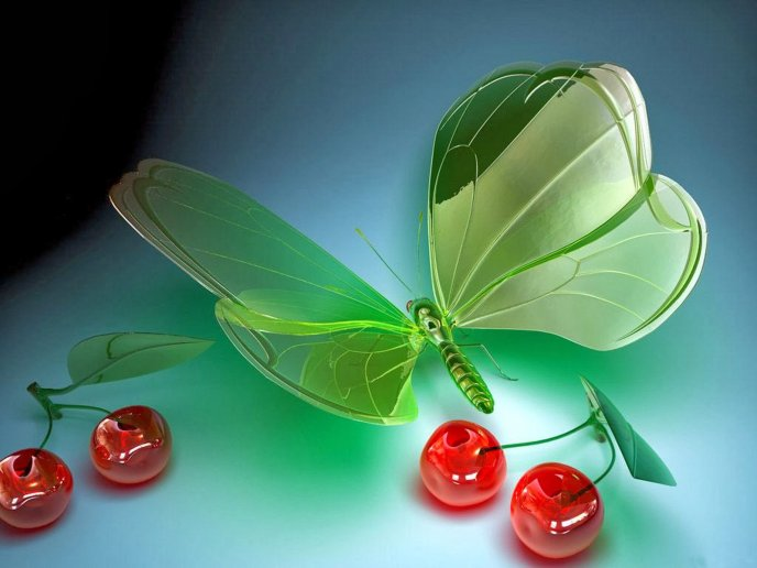 Crystal cherries and butterfly - Wonderful HD wallpaper