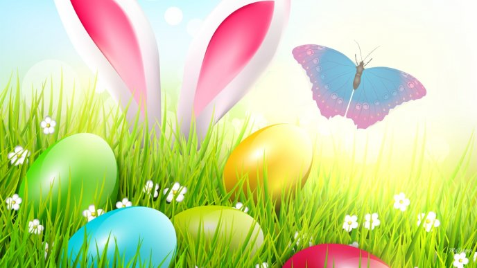 Colorful Easter eggs in the grass - Happy Spring Holiday