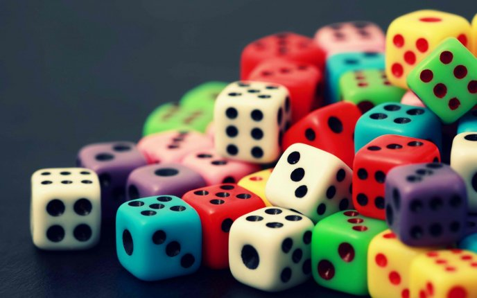 Colorful dices - Abstract and macro wallpaper