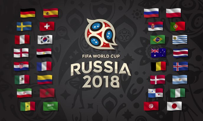 Country flags in Fifa World Cup Russia 2018 - Football sport