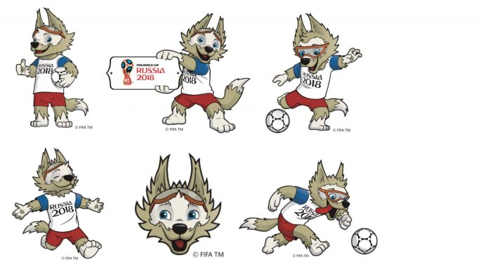 Funny fox mascot of Fifa World cup Russia 2018 - Football