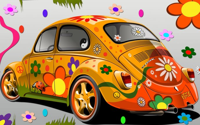 Beattle volskwagen car - Flower power ladybug design