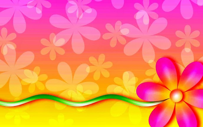 Hot colors and flowers on the wall - HD wallpaper