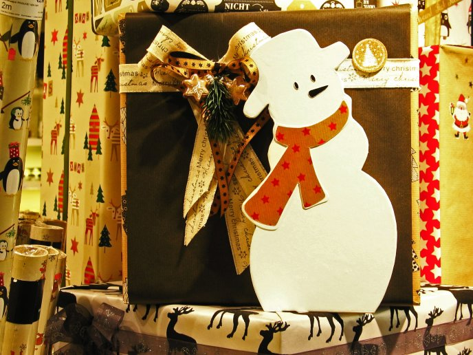 Lots of Christmas presents are ready to go - Snowman