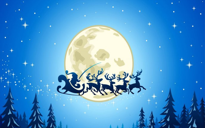 Night fly - Santa Claus and reindeers on the blue sky