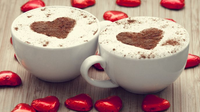 Cinnamon hearts in cups with hot chocolate drinks -Love time