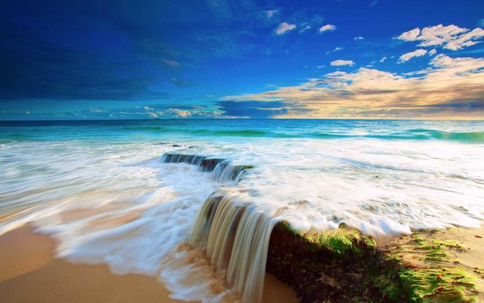 Ocean foam and a beautiful water landscape - Summer season