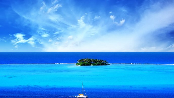 Summer holiday - Wonderful Blue ocean water and small Island