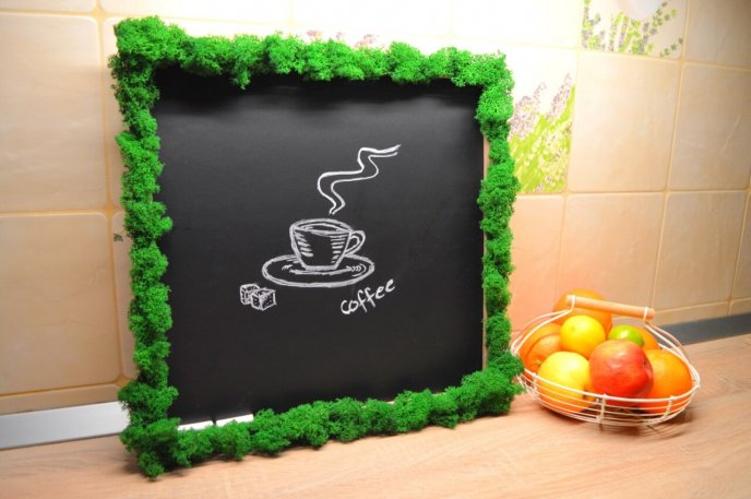 Blackboard with lichens - Green Moss picture for kitchen