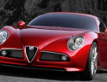 Red Alfa Romeo 8C Competizione close up