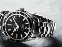 Shiny silver Omega Seamaster watch