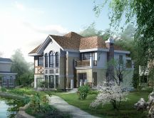 Beautiful house 3D rendered model