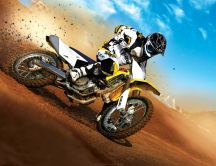 Motorcycle racing on the sand - Suzuki