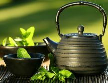 Teapot and mint tea