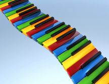 3D colored piano keys