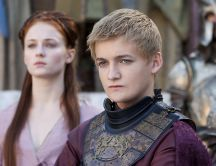 Jack Gleeson as Joffrey Baratheon with his queen-Sansa Stark