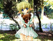 Anime - little blonde girl with her teddy bear