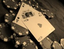 Poker game - two aces black and white photo