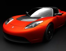 The Electric Tesla Roadster - red car HD wallpaper