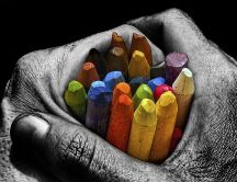 A handful of crayons