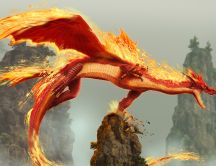 Flaming Dragon on a rock cliff