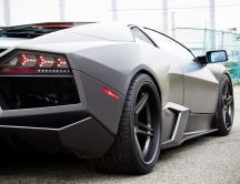 Matte Black Lamborghini Reventon 2012, Rear view
