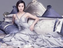 Silver dress fan bingbing stars actress china