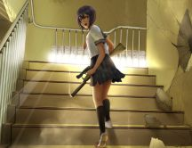 Anime - angry girl with a rifle on the stairs