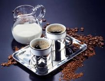 Perfect breakfast - coffee and milk