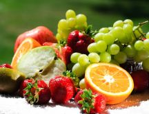 A serving of vitamins - lots of fruits