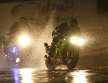 Motorcycle race in the rain