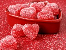 Sweet and red heart-shaped jelly
