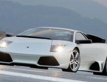 Beautiful sport white car - Lamborghini Murcielago lp640