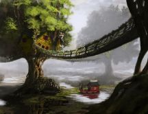 Tree house - fantasy HD wallpaper