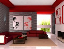 Red and gray living room HD wallpaper