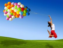 Trying to fly with balloons HD wallpaper
