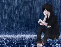 Anime - boy sitting in the rain HD wallpaper