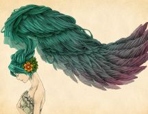 Drawing - green hair in the shape of wings