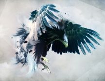 Angry eagle with big and blue wings - Abstract HD wallpaper