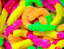 Sweet jelly worms - HD colored wallpaper