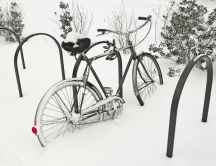 Bike buried in snow