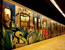 Beautiful graffiti art on subway