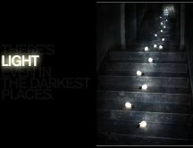 Light bulbs strung on stairs HD wallpaper