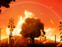 Anime - two lovers under a rainbow