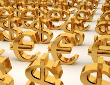 Golden Euros and Dollars HD wallpaper