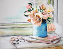 Painting - vase of flowers on a stack of books HD wallpaper
